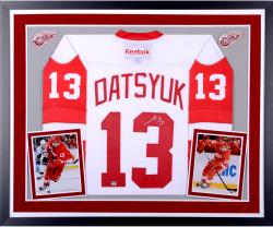 Pavel Datsyuk Detroit Red Wings Autographed Deluxe Framed Reebok Premier White Jersey