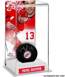 Pavel Datsyuk Detroit Red Wings Autographed Puck with Deluxe Tall Hockey Puck Case