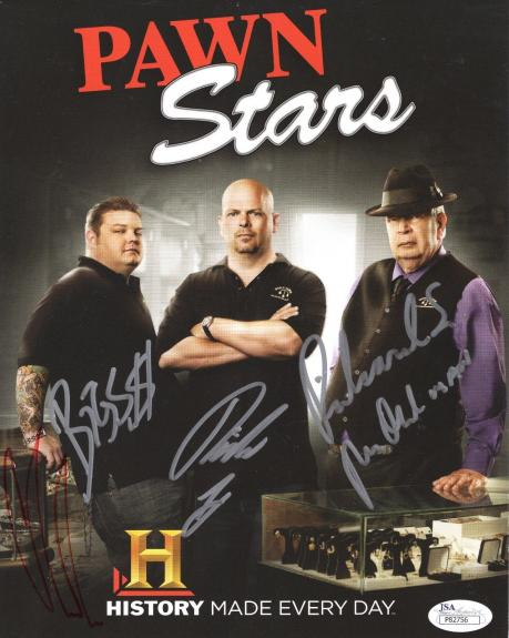 PAWN STARS HAND SIGNED 8x10 COLOR PHOTO       CAST+CHUMLEE+THE OLD MAN       JSA
