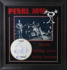 Pearl Jam (5) Eddie Vedder Signed Drumhead Display Framed PSA #V10696