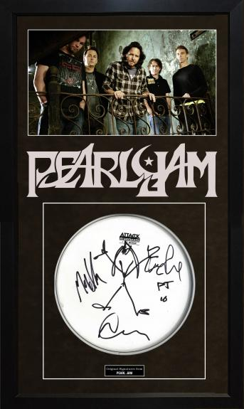 Pearl Jam Autographed Hand Drawn Sketch Portrait Art on Drumhead Display