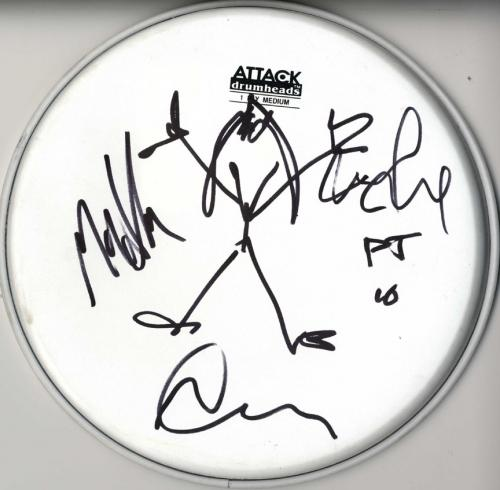 Pearl Jam Autographed Signed Art Sketch 11-inch Attack Drumhead AFTAL UACC RD CO