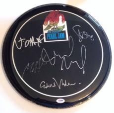 PEARL JAM w/ Eddie Vedder Group SIGNED DRUMHEAD w/ PSA DNA Loa