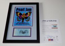 Pearl Jam X5 Eddie Vedder Stone Jeff Mike Jack Signed 10/7/96 Ticket Framed Psa