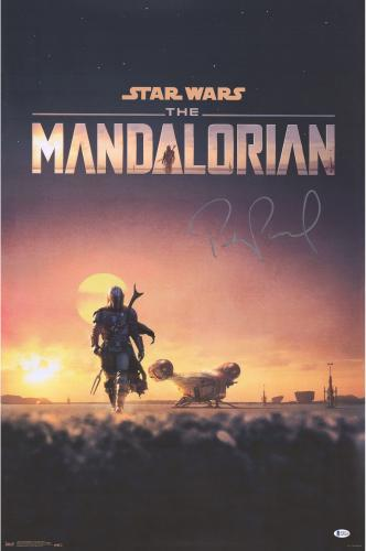 """Pedro Pascal Star Wars The Mandalorian Autographed 22"""" x 34"""" D23 Movie Poster"""