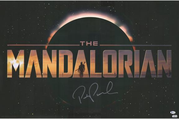 "Pedro Pascal Star Wars The Mandalorian Autographed 22"" x 34"" Title Movie Poster"
