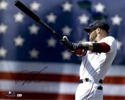 "Dustin Pedroia Boston Red Sox Autographed 16"" x 20"" Warm Up Photograph"