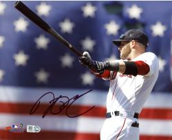 """Dustin Pedroia Boston Red Sox Autographed 8"""" x 10"""" Flag Warm Up Photograph"""
