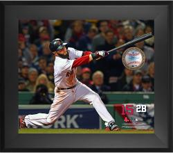 Dustin Pedroia Boston Red Sox Framed 20'' x 24'' Gamebreaker Photograph with Game-Used Ball - Mounted Memories