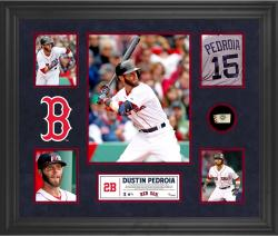 Dustin Pedroia Boston Red Sox Framed 5-Photo Collage with Piece of Game-Used Ball