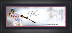 "Dustin Pedroia Boston Red Sox Framed Autographed 10"" x 30"" Field General Photograph-Limited Edition #1 of #25"
