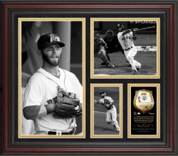 "Dustin Pedroia Boston Red Sox Framed 15"" x 17"" B&W Composite with Piece of Game-Used Ball-Limited Edition of 500"