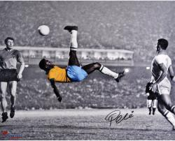 "Pele Brazil Autographed 16"" x 20"" Bicycle Kick Spotlight Photograph"