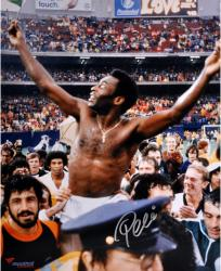 "Pele Brazil Autographed 16"" x 20"" Shirtless Celebration Photograph"