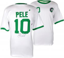 Pele Autographed Cosmos White Green Jersey