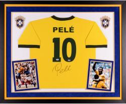 Pele Brasil Autographed Deluxe Framed Toffs Yellow Jersey