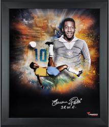 "Pele Brazil Framed Autographed 20"" x 24"" In Focus Photograph with Multiple Inscriptions-Limited Edition of 10"