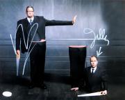 Penn Jillette & Teller Dual Signed Autographed 11X14 Photo Saw Trick JSA Q91507