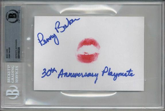 PENNY BAKER SIGNED 4x6 INDEX CARD + LIP PRINT PLAYBOY PLAYMATE RARE BECKETT BAS