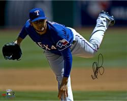 "Martin Perez Texas Rangers Autographed 16"" x 20"" Blue Jersey Pitching Photograph"