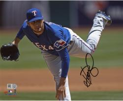 Martin Perez Texas Rangers Autographed 8'' x 10'' Blue Jersey Pitching Photograph - Mounted Memories
