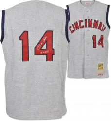 Pete Rose Cincinnati Reds Autographed 1965 Jersey Vest 4256 Inscription  - Mounted Memories