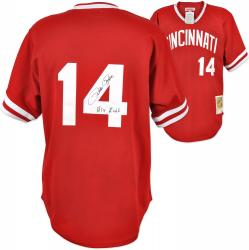 Pete Rose Cincinnati Reds Autographed 1985 Mitchell & Ness Jersey with Hit King Inscription - Mounted Memories