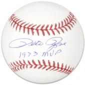Pete Rose Autographed Baseball 1973 MVP Inscription - Mounted Memories