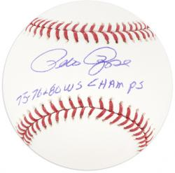 "Pete Rose Cincinnati Reds Autographed Baseball with ""75, 76 & 80 WS Champs"" Inscription"