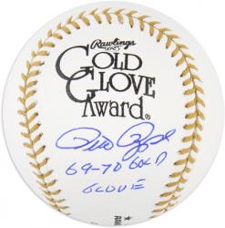 Pete Rose Autographed Gold Glove Baseball with 69-70 Gold Glove Inscription