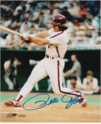"Pete Rose Philadelphia Phillies Autographed 8"" x 10"" Swinging Photograph"