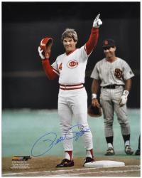 "Pete Rose Cincinnati Reds Autographed 16"" x 20"" Record Hit Pointing Photograph"