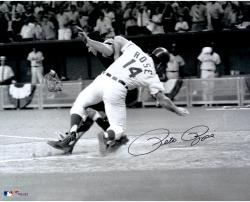 "Pete Rose Cincinnati Reds Autographed 16"" x 20"" Collision with Catcher Photograph"