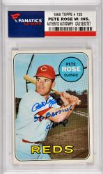 Pete Rose Cincinnati Reds Autographed 1969 Topps #120 Card with 3 X Batting Champ Inscription
