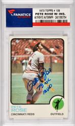 Pete Rose Cincinnati Reds Autographed 1973 Topps #130 Card with 3 X NL MVP Inscription