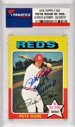 Pete Rose Cincinnati Reds Autographed 1975 Topps #320 Card with 3 X WS Champ Inscription