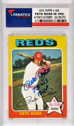 Pete Rose Cincinnati Reds Autographed 1975 Topps #320 Card with 75 X WS MVP Inscription