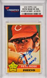 Pete Rose Cincinnati Reds Autographed 1976 Topps #240 Card with 3 X WS Champ Inscription