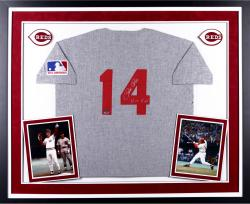 Pete Rose Cincinnati Reds Autographed Deluxe Framed 1969 Mitchell & Ness Grey Jersey with Hit King Inscription