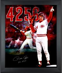 "Pete Rose Cincinnati Reds Framed Autographed 20'' x 24'' In Focus Photograph with ""Hit King"" Inscription"