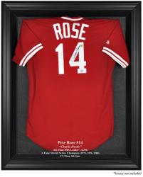 Pete Rose Black Framed Logo Jersey Display Case - Mounted Memories