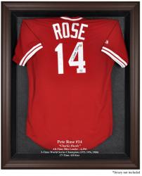 Pete Rose Brown Framed Logo Jersey Display Case - Mounted Memories