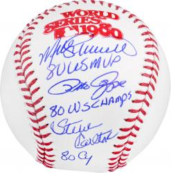 "Pete Rose, Steve Carlton & Mike Schmidt Philadelphia Phillies Triple Autographed 1980 World Series Baseball with ""80 NL CY, 80 WS CHAMPS, 80 WS MVP"" Inscription"