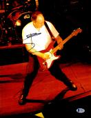 """Pete Townshend Autographed 11"""" x 14"""" The Who Playing Red Guitar Photograph - BAS COA"""