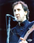 """Pete Townshend Autographed 8"""" x 10"""" The Who Singing into Microphone Photograph - Beckett COA"""