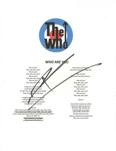 """Pete Townshend Signed Autograph """"who Are You"""" Lyric Sheet - The Who Guitarist"""