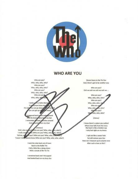 """Pete Townshend Signed Autograph """"who Are You"""" Lyric Sheet - Tommy, Who's Next"""