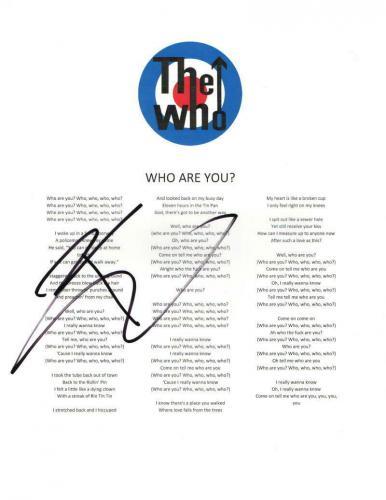 "Pete Townshend Signed Autograph ""who Are You"" Lyric Sheet - Quadrophenia, Rare"