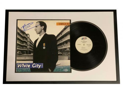 Pete Townshend Signed Framed White City Album Vinyl Lp Auto Beckett Bas The Who