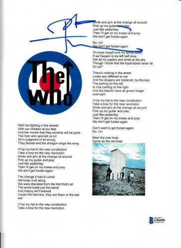 Pete Townshend Signed The Who Won't Get Fooled Again Lyric Sheet Autograph Bas
